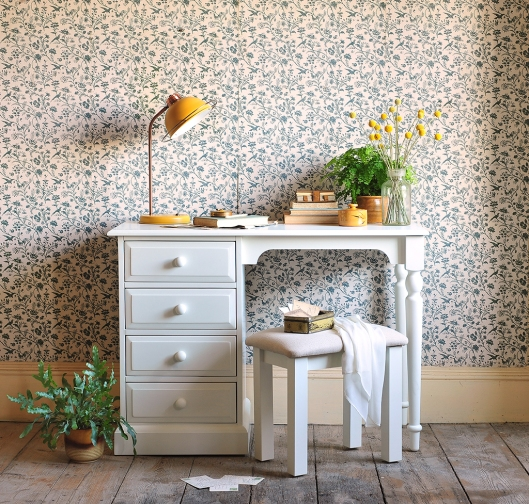White painted bedroom furniture, dressing table, mustard lamp, craspedia