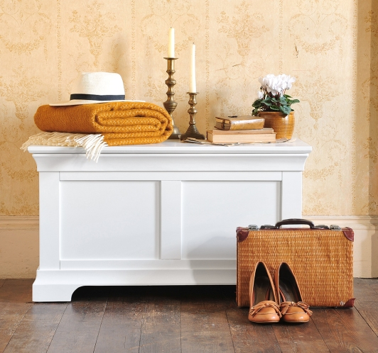White Painted furniture, blanket Box, vintage wallpaper, suitcase