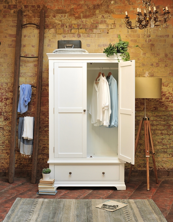 White painted wardrobe, painted bedroom furniture, tripod lamp