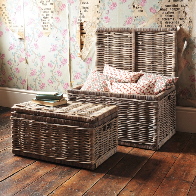 Baskets, chests, storage, clever storage, wicker, vintage wallpaper