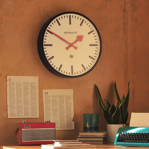 Clock, vintage station clock, office, home office