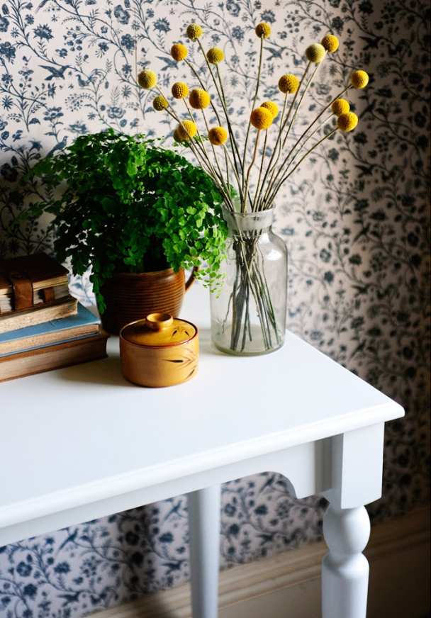 craspedia, flowers, dressing your home, dressing table, vintage wallpaper