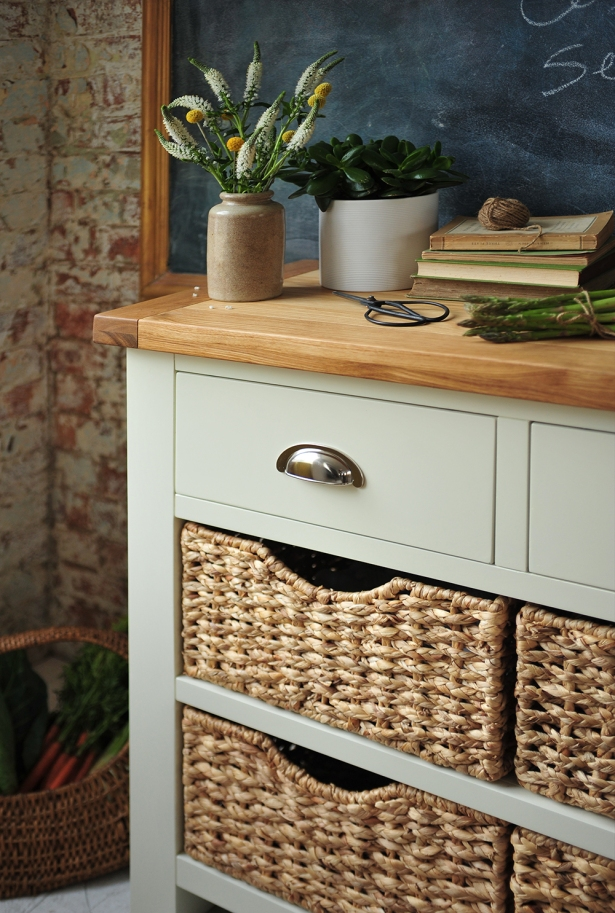 Cup handles, wicker baskets, painted furniture, vegitables, dream kitchen