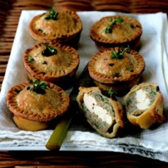 Delias chicken and herb pies, picnic pie