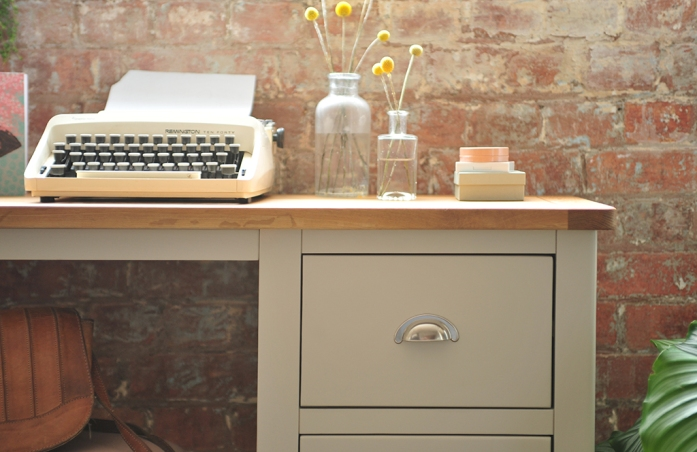 Dress table, grey furniture, grey desk, type writer, craspedia