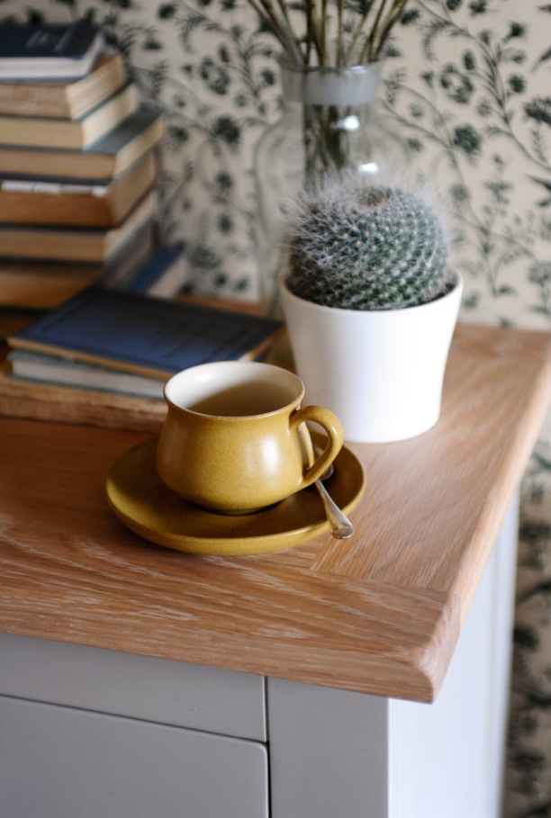 Dressing your home, selling houses, coffee cup, books, vintage wallpaper