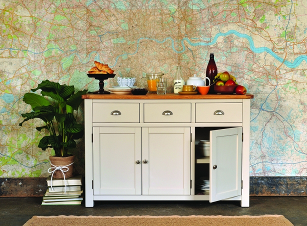 Grey furniture, grey sideboard, painted furniture, giant map, serving breakfast