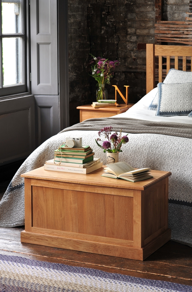 Grey shutters, grey window, oak furniture, oak bed, oak blanket box, dream bedroom,