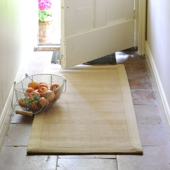 Hallway runner, utility room runner, flag stone floor, front door, fruit basket
