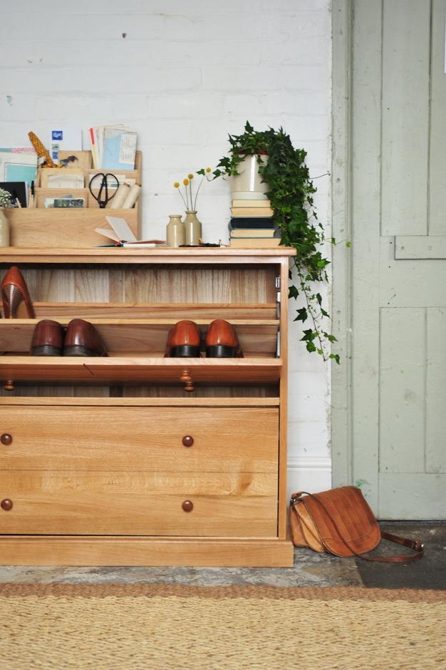 Hallway storage, clever storage, shoe storage, oak furniture, hallway