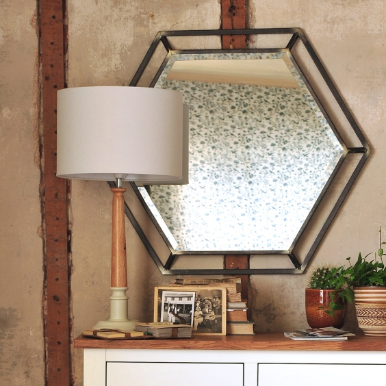 hexagonal mirror, wall mirror, metal