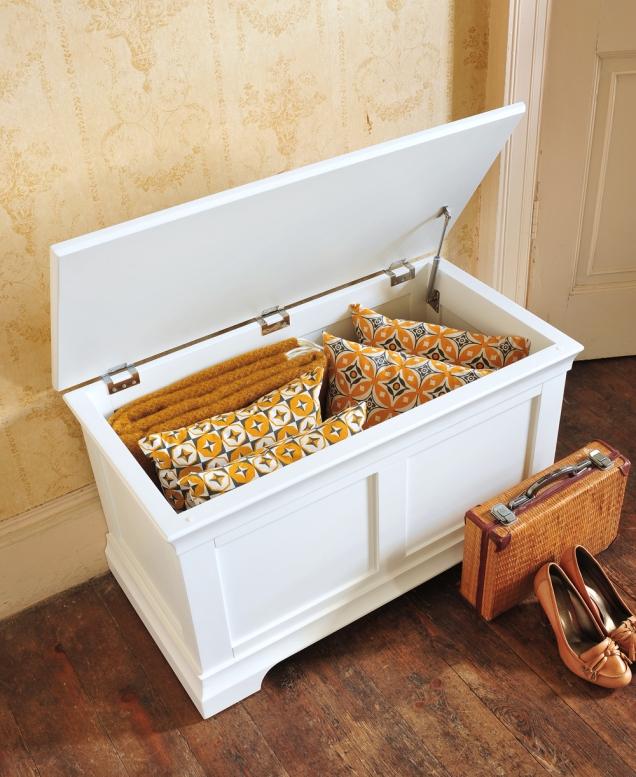 hidden storage, organisation, linen chest, blanket box, white painted furniture