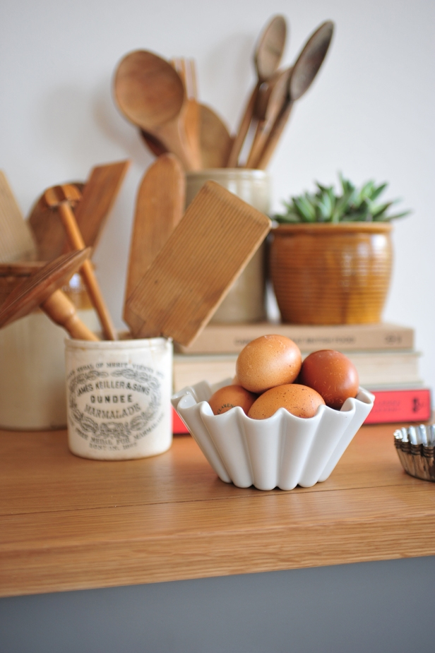 Homely, baking, eggs, wooden utencils, grey furniture