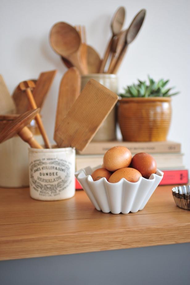 Homely, baking, eggs, wooden utencils, grey furniture