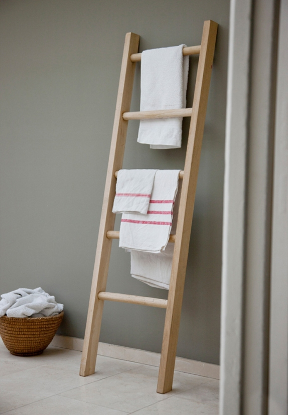 Ladder towel rail, wooden ladder, batheroom, utility room.