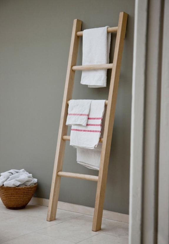 Ladder towel rail, wooden ladder, batheroom, utility room.