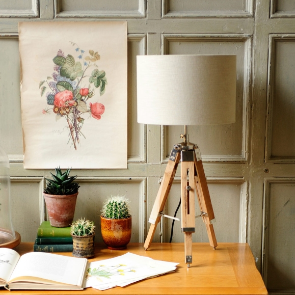 Lighting, tripod lamp, botanical print, panelled wall