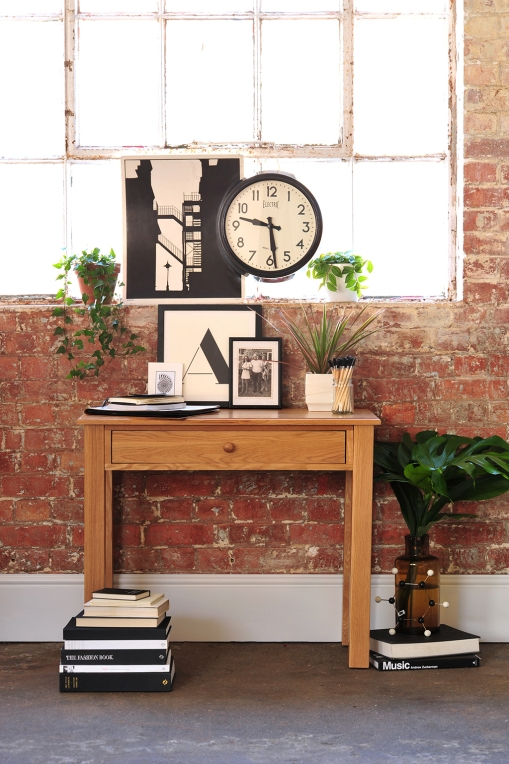 Monochrome artwork, black and white, computer desk, brick wall