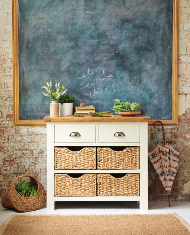 Oxford painted sideboard, kitchen storage, dream kitchen, painted furniture, wicker baskets, cup handles