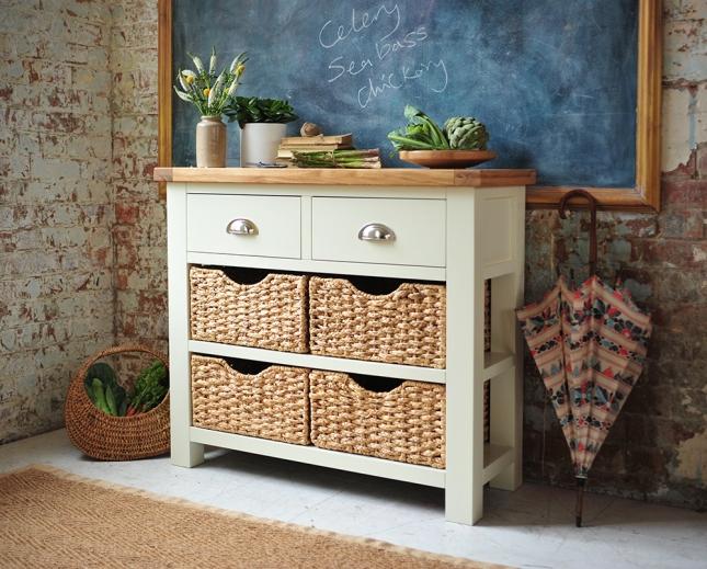 Painted furniture, painted sideboard, blackboard, gold frame, dream kitchen, kitchen storage