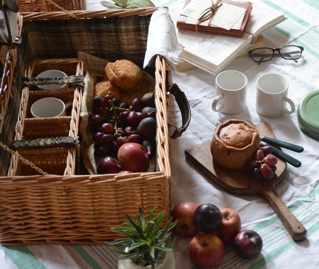 Picnic, Picnic basket, picnic pie, fruit, summer, plants, picnic blanket, 3
