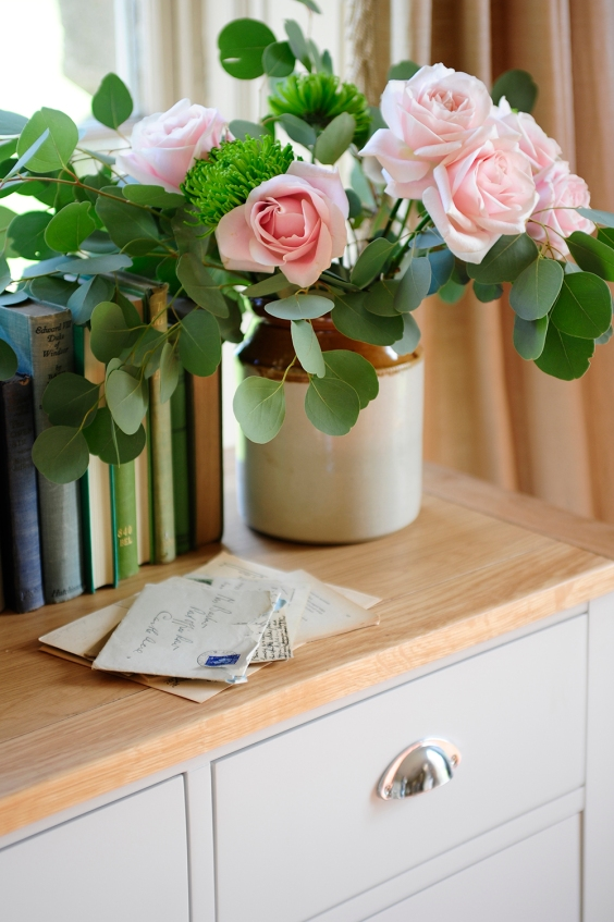 Pink Roses, Eucalyptus, books, country bedroom