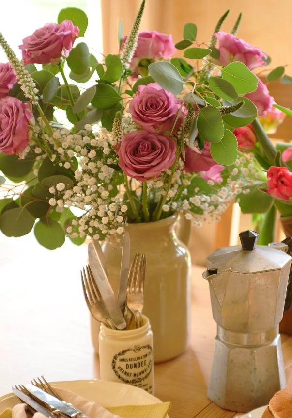 Purple Roses, spring, summer, vintage vase, coffee, oak table