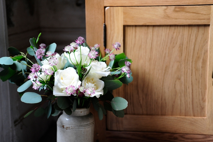 Roses, Eucalyptus, oak furniture,