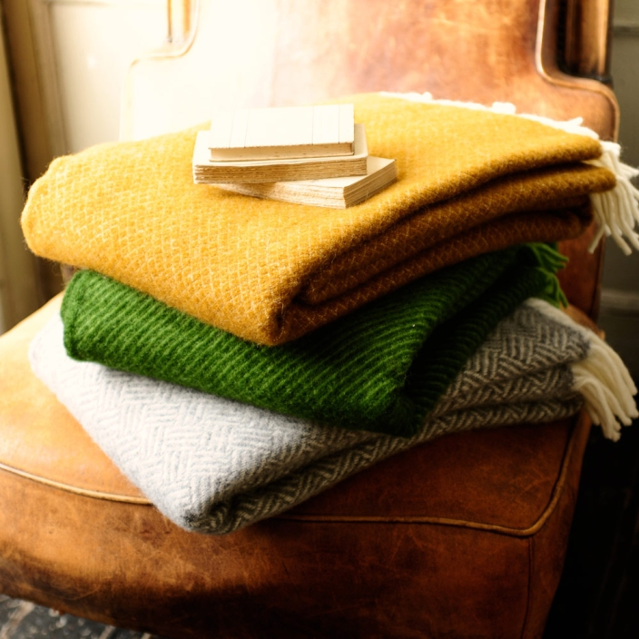 Throws, mustard, green, grey, leather chair, vintage, accessories