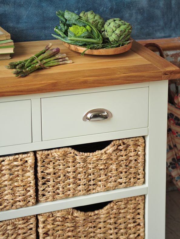 Wicker backets, painted furniture, vegitables, veg storage, dream kitchen