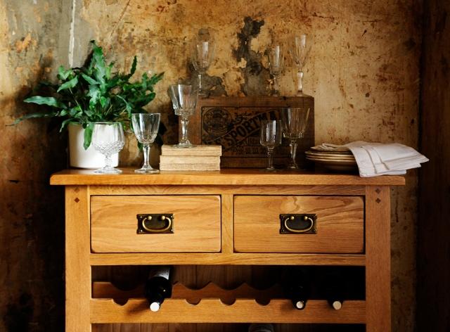 Wine rack, oak wine rack, oak furniture, crystal glasses, rustic wall, rustic dining