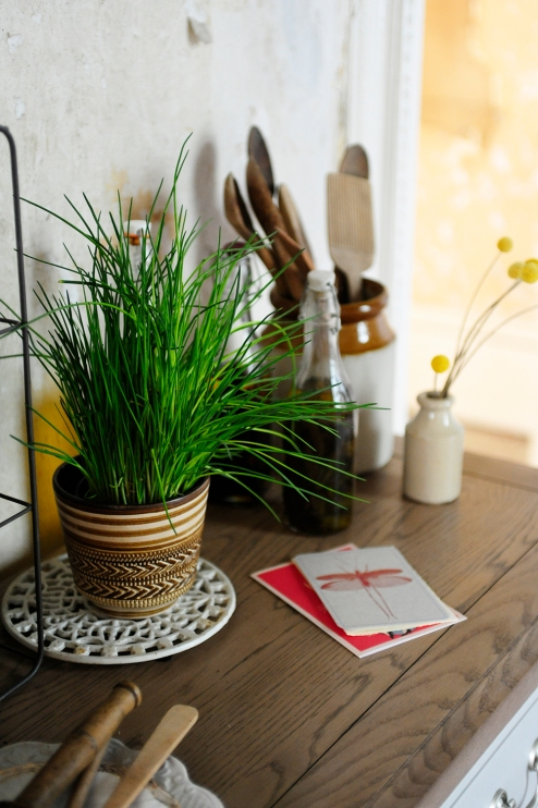 Chives, Fresh herbs, dream kitchen, painted furniture, oak surface
