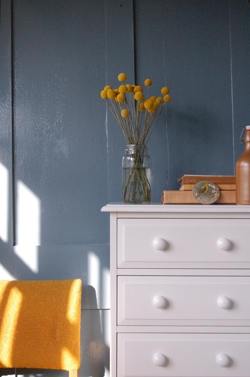 Craspedia, blue background, white furniture4