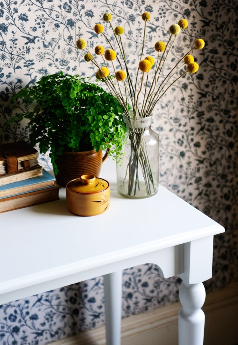 Craspedia, vintage wallpaper, mustard pot, fern