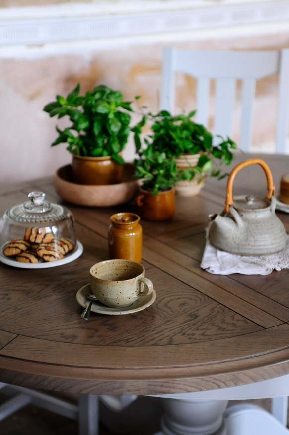 Dining, herbs, rustic pottery, speckled glaze, cookies, afternoon tea