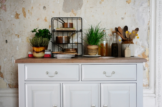 Dream kitchen, kitchen storage, herbs, copper pots