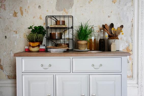 Dream kitchen, kitchen storage, herbs, copper pots