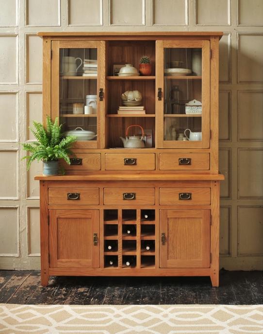 Dresser and wine rack, oak furniture, dream kitchen, freestanding kitchen