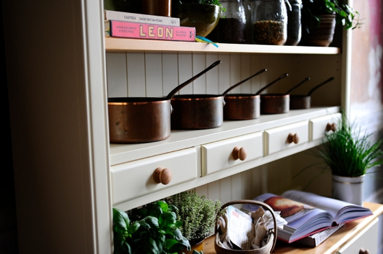 Dresser, copper pots, country kitchen, dream kitchen, free standing furniture
