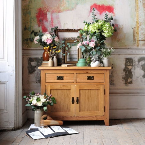 Flowers, oak furniture, oak cupboard, roses