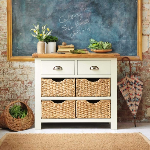 Freestanding kitchen furniture, dream kitchen, country kitchen, cream furniture, wicker baskets