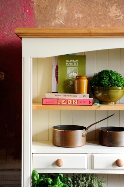 Kitchen, cookbooks, plants, herbs, copper pots, dresser, painted furniture