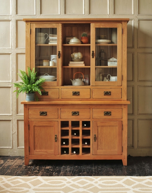 Oak Dresser, Vintage Kitchen, Panelled walls, White Ceramics