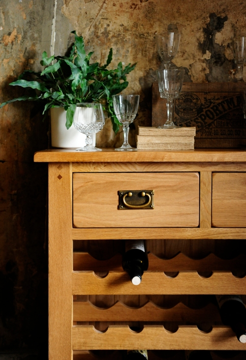 Oak wine rack, rustic oak, oak dining furniture, dream dining room