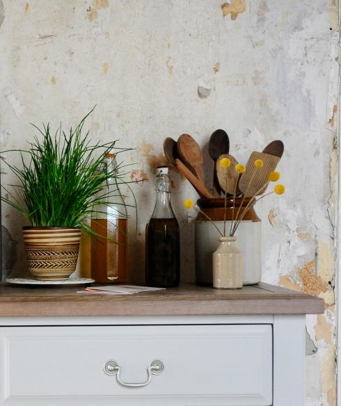 Oils, glass bottles, olive oil, dream kitchen, painted furniture2
