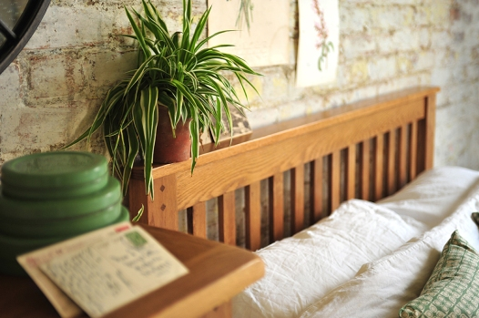 Rustic Oak bedroom, Spider plant, bedstead, green accessories