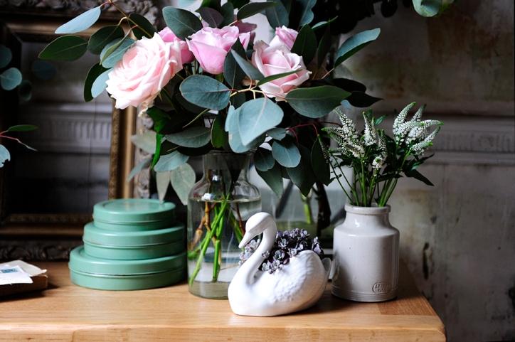 Swan, Roses, Succulents, abundance, styling, dressing, oak furniture