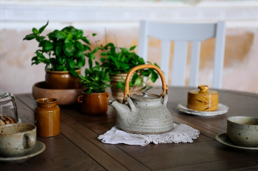 Table protection, teapot, tea, plants