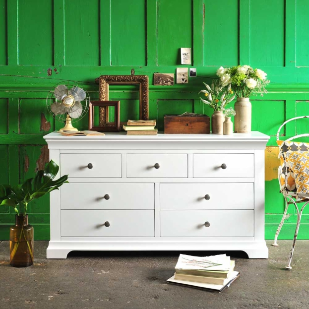 White bedroom furniture, chantilly, green wall, vintage ceramics, panelled wall