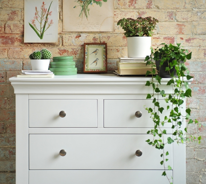 white bedroom furniture, white chest of drawers, brick wall, ivy